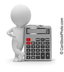 3d small people with the calculator. 3d image. Isolated white background.