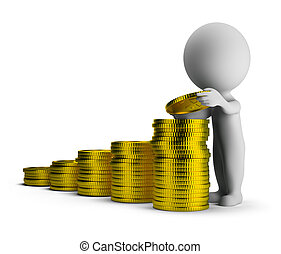 3d small person puts gold coins on each other. 3d image. Isolated white background.