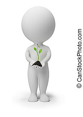 3d small people with a sprout in hands. 3d image. Isolated white background.