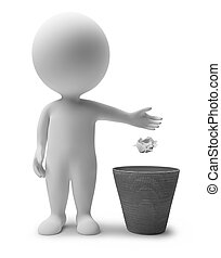 3d small people throwing dust in a garbage basket. 3d image. Isolated white background.