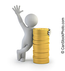 3d small people - gold coins