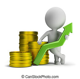 3d small person standing next to a stack of gold coins and holding a green up arrow. 3d image. Isolated white background.