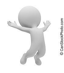 3d small people jumped up for pleasure. 3d image. Isolated white background.