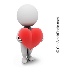 3d small people with a heart. 3d image. Isolated white background.
