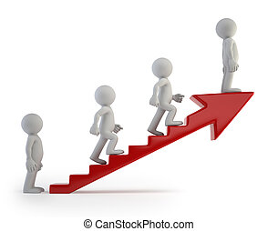 3d small people - Ladder of Success