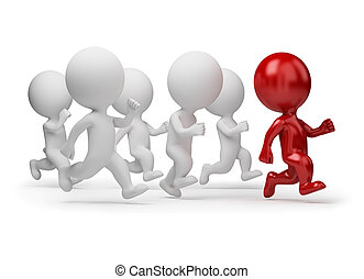 3d small people running for the leader. 3d image. Isolated white background.