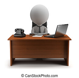 3d small person - manager sits at a desk with a laptop and phone. 3d image. Isolated white background.