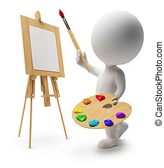 3d drawing small people with an easel, paints and a brush. 3d image. Isolated white background.