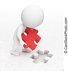 3d small people puts a missing puzzle in a cell. 3d image. Isolated white background.