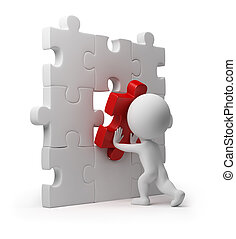 3d small person inserting last part of a puzzle. 3d image. Isolated white background.