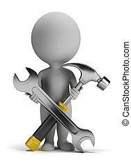 3d small person with a wrench and a screwdriver in his hand. 3d image. Isolated white background.
