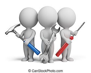 Three 3d people with the tools in the hands of. 3d image. Isolated white background.
