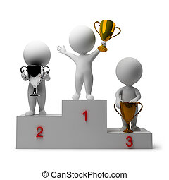 3d small people - rewarding of winners. 3d image. Isolated white background.
