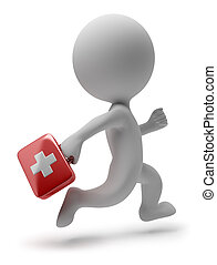3d small person - doctor with the first-aid set running on a call. 3d image. Isolated white background.