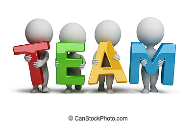 "3d small people holding hands in the word ""team"". 3d image. Isolated white background."