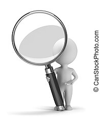3d small people with a magnifying glass