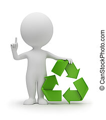 3d small people with a recycling symbol. 3d image. Isolated white background.