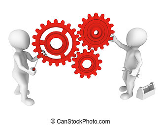 3d small people with gears and tools