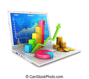 3d statistics on laptop, isolated white background, 3d image