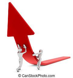 raising red arrow
