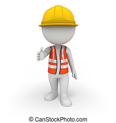 3d rendered illustration of white people as road worker