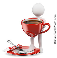 3d white people. Cup of coffee with spoon and sugar sachet. Isolated white background.