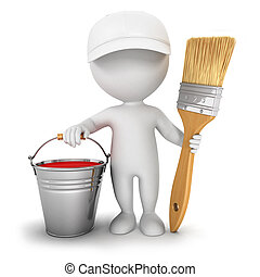 3d white people house painter