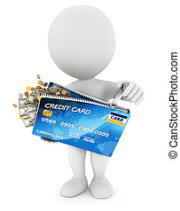 3d white people opens a credit card, isolated white background, 3d image
