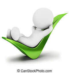 3d white people relaxed on a check mark, isolated white background, 3d image