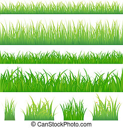 4 backgrounds of green grass and 4 tufts of grass, Isolated On White
