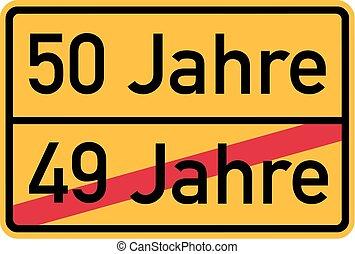 50th birthday - roadsign german