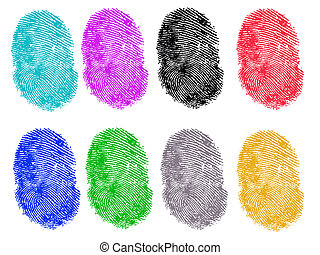 8 Colored Vector Fingerprints - Very accurately scanned and traced ( Vector is transparent so it can be overlaid on other images, vectors etc.)