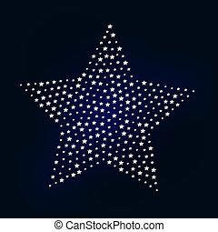 A big star shape made of small silver stars