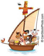 A boat full of animals