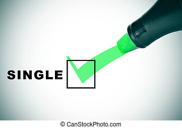 a check mark drawn with a green marker pen on a checbox with the word single
