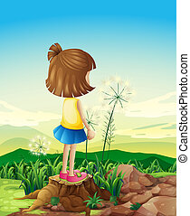 A child standing above the stump while sightseeing
