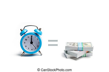 A clock, pile of money and the equal sign between them on a white background. The concept of expressing time is money. Planning time and increase efficiency, increase profits. Side job in free time.