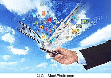 A conceptual image about doing business or sharing multimedia and data from a smart phone