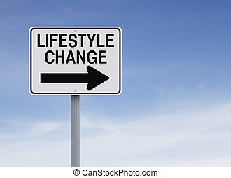A conceptual one way sign indicating Lifestyle Change