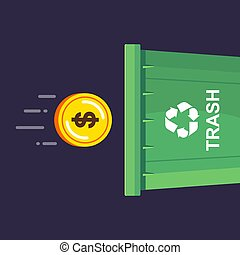 a gold coin is thrown into the trash can.