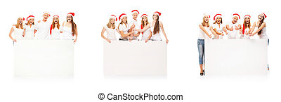 A group of happy teenagers in Christmas hats