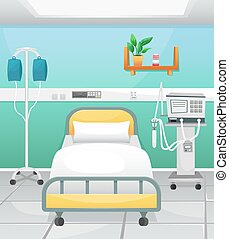 A hospital room with a bed, a drip and a ventilator. Fighting coronavirus in hospitals.