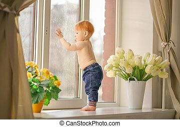 a little boy looks in the window.