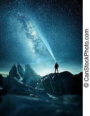 A Man Shining A Light Into The Night Sky