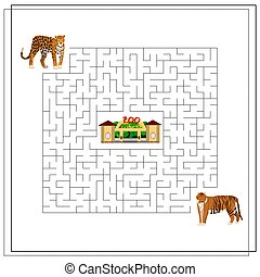 A maze puzzle game for kids. Help me get through the maze. Jaguar, tiger, zoo.