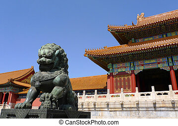 A ming dynasty imperial guardian lion (Shishi, or stone lion) in front of the gate of Supreme Harmony in the Forbidden City, Beijing, China.