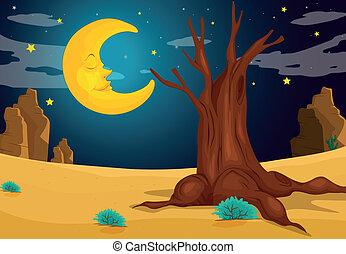 Illustration of a moonlight evening