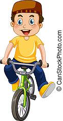 A muslim boy riding bicycle