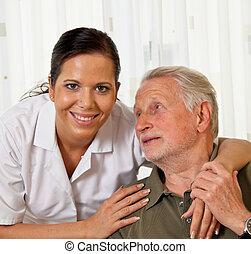 nurse in elderly care for seniors in nursing homes