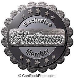 """A platinum seal with """"Exclusive Platinum Member"""" notice"""